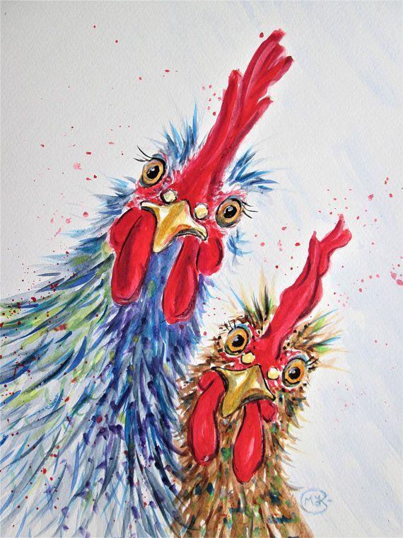 Original Chicken Watercolor Chicken Art Rooster Art Cockerel Painting Farm Animal Bird Art Bird Lover Colorful Chicken Painting Kus Sanat Sanatsal Resimler Suluboya Sanati