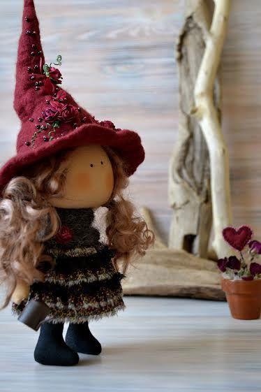 Poco bruja Tina-cocina bruja-regalo hecho a mano muñeca-textil tela muñeca muñeca bruja de casa decoración de Halloween decoración de Halloween