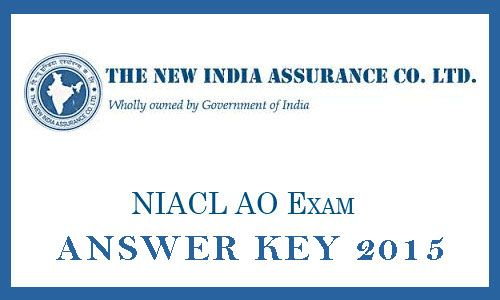 New Assurance India NIACL AO Answer Key 2015 Online Exam Set A B C. newindia.co.in Administrative Officer Paper review analysis expected cutoff marks 2014.