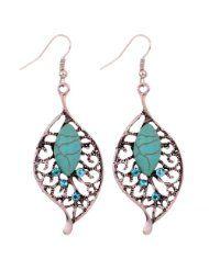 Yazilind Jewelry Vintage Tibetan Silver Leaf Shape Turquoise Crystal Drop Dangle Earrings for Women - SALE $0.01 www.jewelryandwatches.co.za