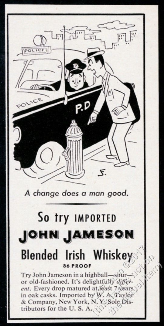 """1953 John Jameson Irish Whiskey police cop car cartoon vintage print ad - $8.09. This is an original 1953 print ad for John Jameson's Irish Whiskey! It's small, measuring approximately 5.25"""" x 2.5"""" overall, has no stains or tears, comes from a dry, high-altitude, smoke-free environment, and is strictly graded """"Near Mint"""". This vintage ad is not any kind of later reproduction, photocopy or reprint (most ads were published at one time only, and never commercially rep..."""