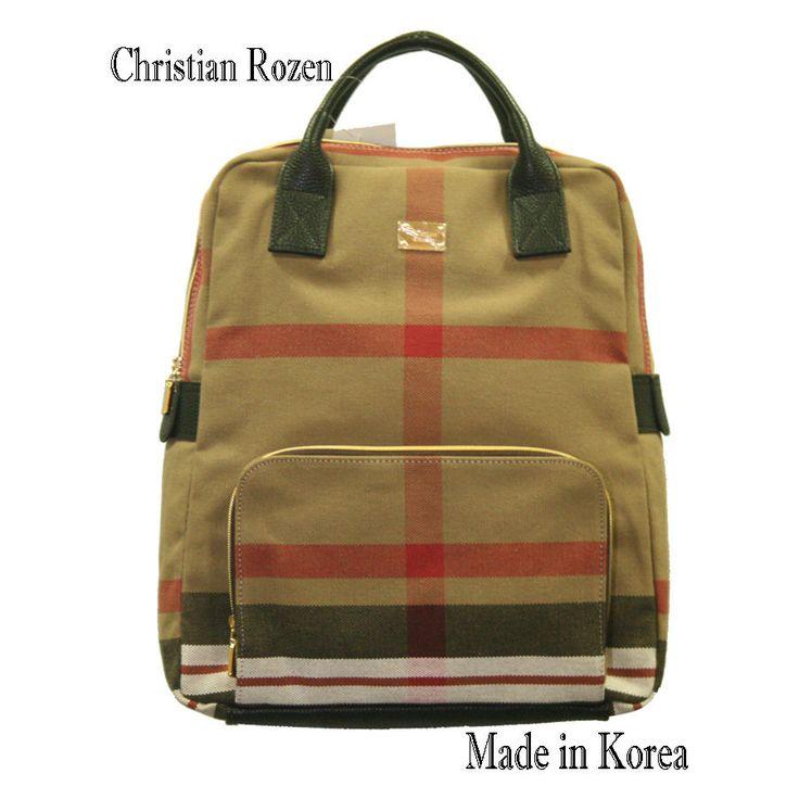 Christian Rozen Womens Fashion backpack Color Brown-Red strife #KoreaChristianRozen #backpack