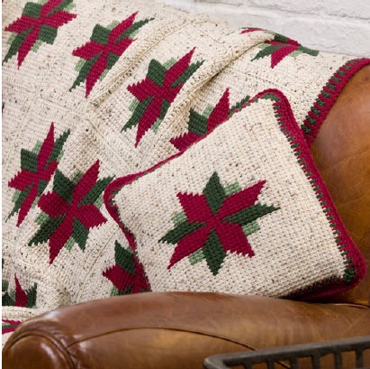 Christmas Star Throw and Pillow Free Crochet Pattern from Red Heart Yarns & 72 best Crochet Christmas Afghans/Throws/Pillows images on ... pillowsntoast.com