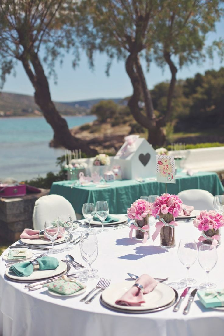 Teal & pink, what a joyful combination for an outdoor event at the Athens, Riviera in Greece! Event Design by Style Concept