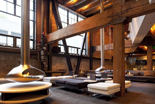 Dalliance Design: HOSPITALITY DESIGN: TWENTY FIVE LUSK - still have not been in to check it out, hopefully soon!Decor, Lounges Chairs, Fireplaces, Beams, Industrial Interiors Design, High Ceilings, Architecture, 25 Lusk, San Francisco
