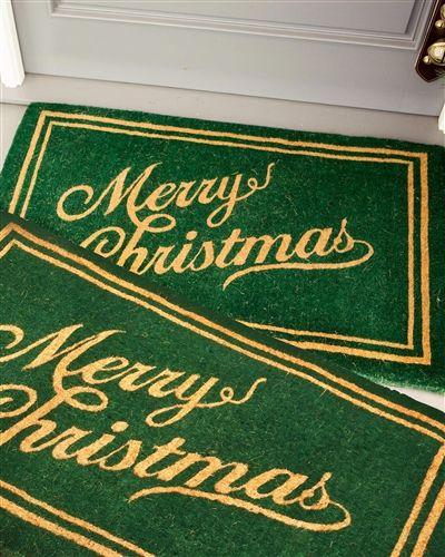 Green Christmas Script Welcome Mat | Balsam Hill