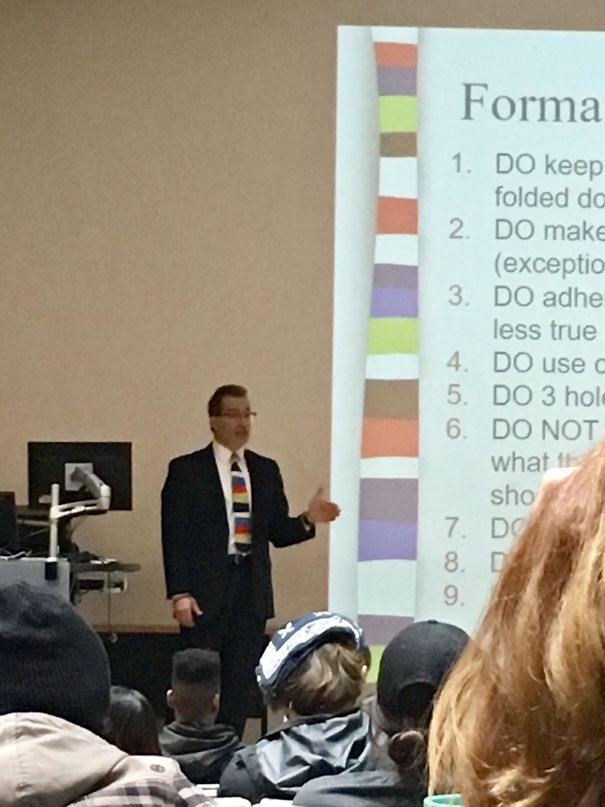 Today, My Professor Decided To Match His Tie With His Powerpoint Theme