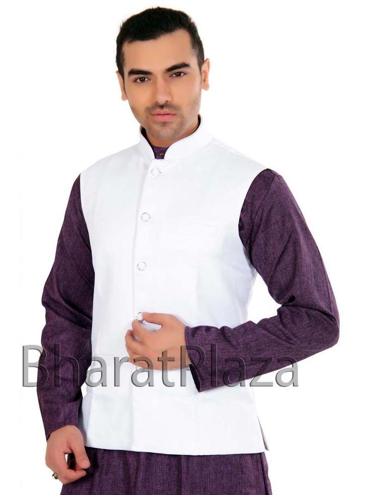 Exclusive white color Nehru Jacket.Item code : SKU : SKPD5007