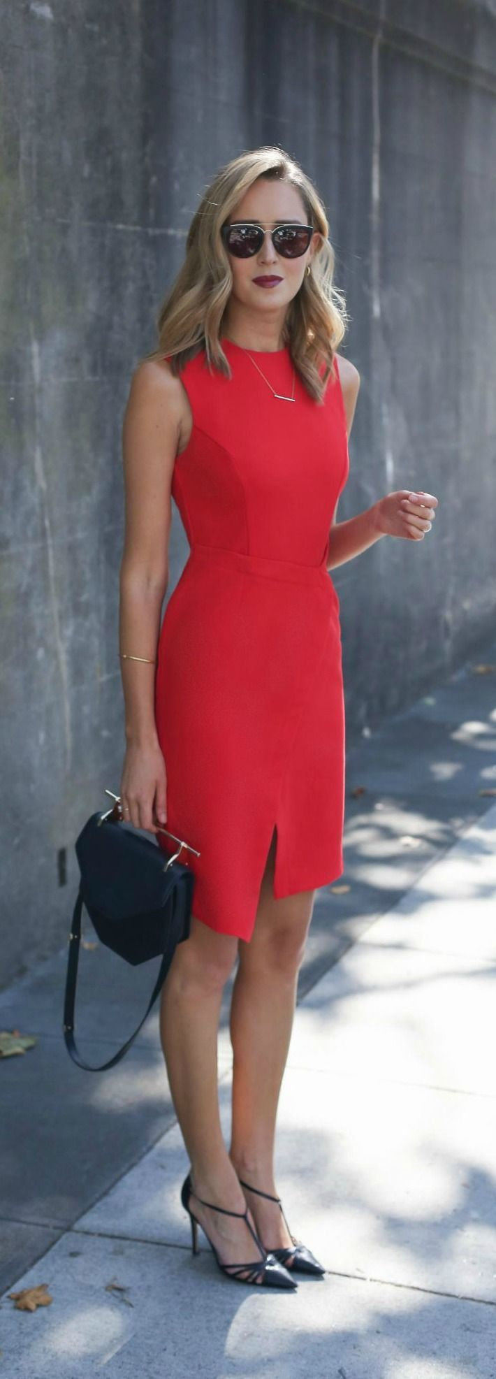 red wrap front midi dress, black pointed toe heels, black shoulder bag, black square sunglasses + curled hairstyle {topshop, sjp collection, m2malletier, smoke x mirrors} {thetroveapp}