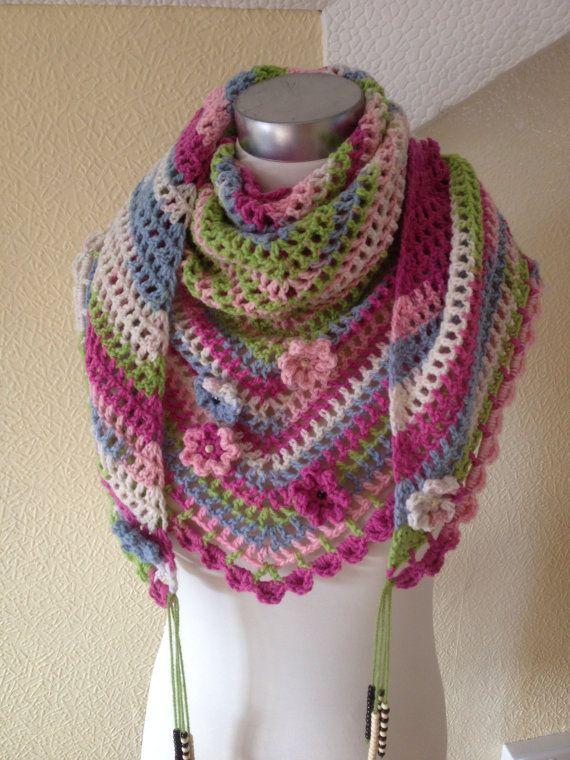 Crochet Festival Scarf Road Trip Scarf Neckwear by elisabeth76 (Accessories, Scarves & Wraps, Scarves, road trip scarf, beaded tassels, multi colour, shawl, scarf, festival scarf, crochet scarf, crochet wrap, rainbow colour scarf, handmade neckwear, ready to ship, crochet shawl, multi function scarf)