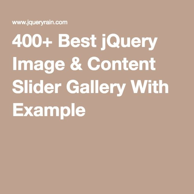 400+ Best jQuery Image & Content Slider Gallery With Example