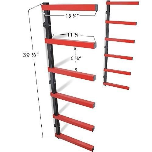 6-Shelf-Lumber-Storage-Rack-Steel-Wall-Mounted-Ind-Outdoor-600-lb-Max-Warehouse