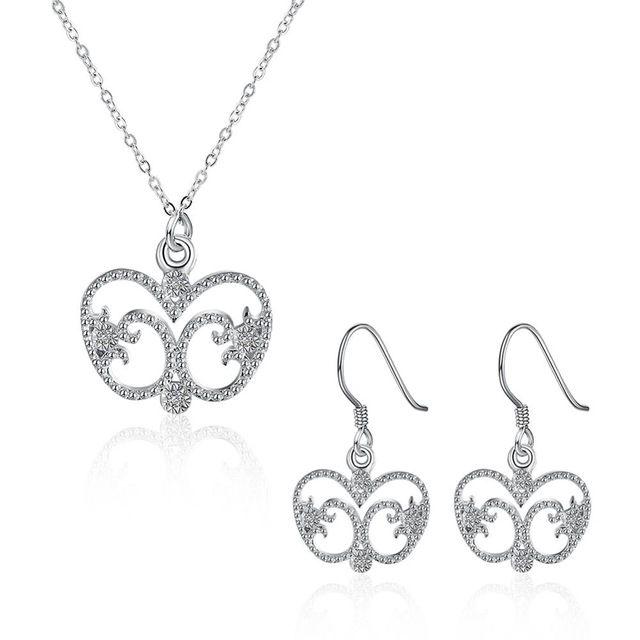 Elegante e Nobreza Prata Conjuntos de Jóias de Festa de Casamento Das Mulheres da Forma Do Coração Que Bling Zircão Cúbico Brincos de Pingente de Colar