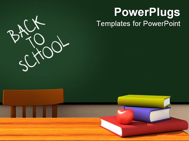 PowerPoint Template about apple, back, blackboard