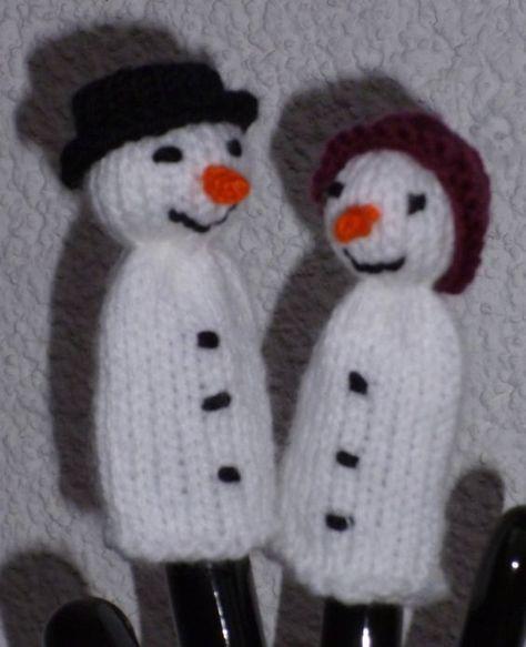 Schneemann und Schneefrau als Fingerpuppe