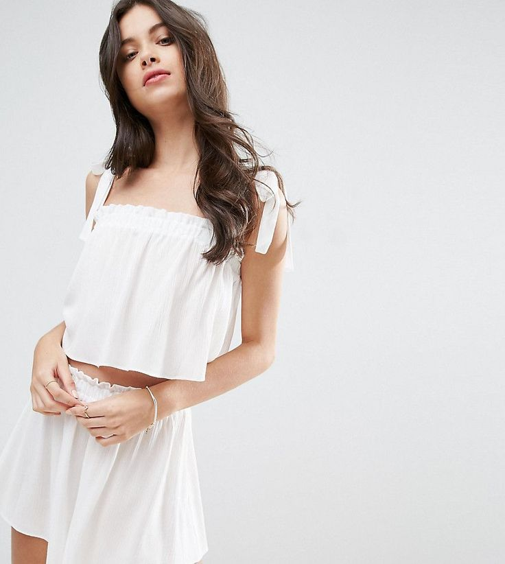 ASOS PETITE Beach Co-ord Top With Tie Shoulders and Frill Edge - White