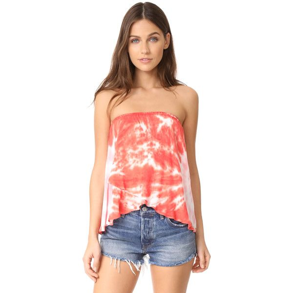Young Fabulous & Broke Shore Tube Top (130 AUD) ❤ liked on Polyvore featuring tops, hot orange, smock top, tie dye tube top, orange top, tube top and tye dye tops