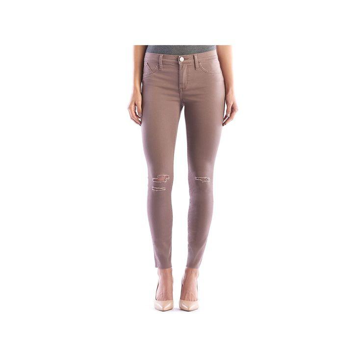 Women's Rock & Republic® Kashmiere Ripped Khaki Leggings, Size: 2 - regular, Lt Brown