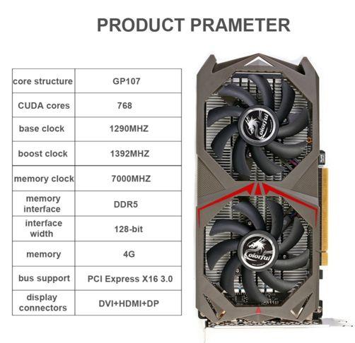Acheter Carte graphique NVIDIA GeForce GTX 1050Ti GPU 4Go 128bit 4096M GDDR5 PCI-E X16 3.0 au meilleur prix sur vendredvd