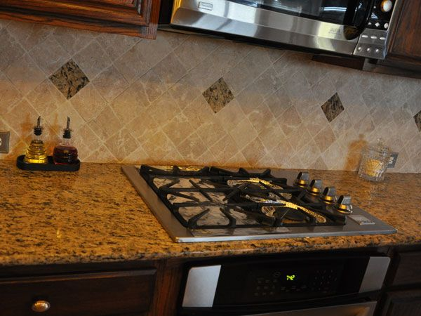 Travertine Backsplash With Santa Cecilia Kitchen Dining Room Pinterest Squares The O 39 Jays