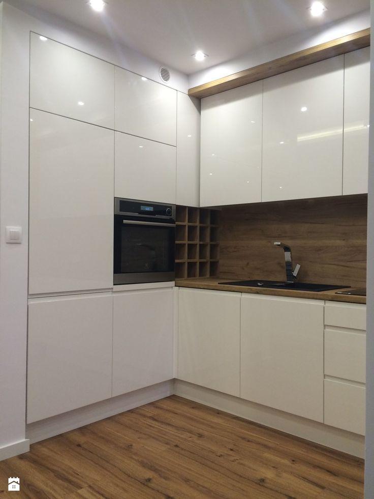 Kuchnia 2 - Mała otwarta kuchnia w kształcie litery l w aneksie, styl nowoczesny - zdjęcie od szafynawymiar24
