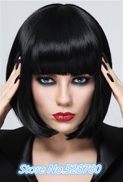 Stylish Heat Resistant Synthetic Bob Style Neat Bang Black Short Straight Capless Women's Wig Free shipping