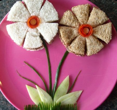 Flower sandwich: Sweet for a little girl's birthday party; great for themes such as woodland, owls, garden, tea, princess, fairy, and many others