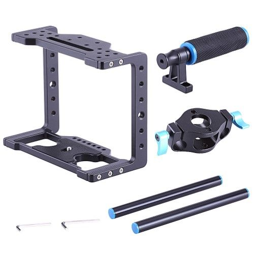"""Neewer Aluminum DSLR Camera Video Cage Kit,Includes (1)Camera Cage(1)Top Handle Grip(2)15mm Rod for BMCC BLackmagic Cinema Camera with 1/4"""" Thread"""