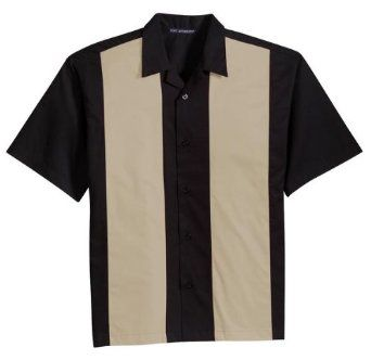 Port Authority Retro Bowling Shirt (S300B) Medium Black-Light Stone [Apparel] $29.99