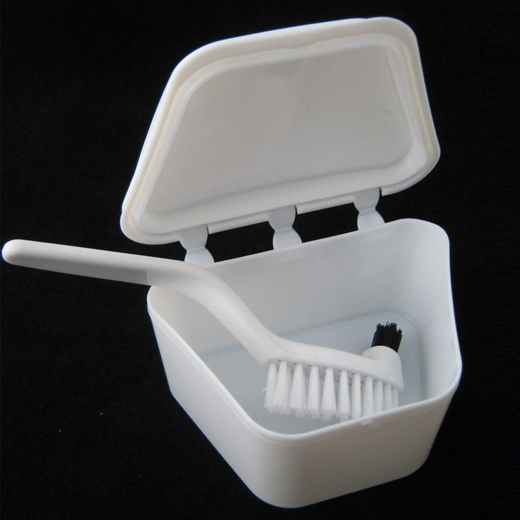 Denture Bath Brush Dental Retainer Box Orthodontic Mouth Guard Storage Container