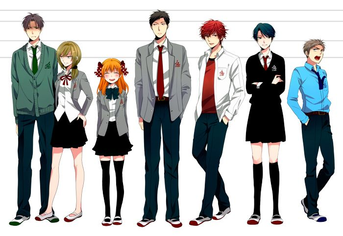 The major characters of the series. From left to right: Wakamatsu, Seo, Sakura, Nozaki, Mikoshiba, Kashima, and Hori