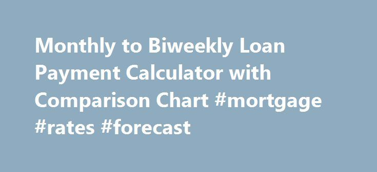 Monthly to Biweekly Loan Payment Calculator with Comparison Chart #mortgage #rates #forecast http://mortgages.remmont.com/monthly-to-biweekly-loan-payment-calculator-with-comparison-chart-mortgage-rates-forecast/  #biweekly mortgage calculator # Biweekly Loan Payment Calculator:For Calculating Bi-Weekly Savings Help you to see how much you can save if you begin making 1/2 of your monthly loan payment every two weeks. This online, Biweekly Loan Payment Calculator will … Continue reading →