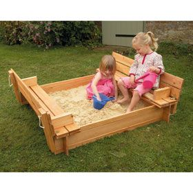 No childhood is complete without a sand pit.    This one has a brilliantly practical lid to keep garden debris (and cats) at bay and which folds out into two little seats.  Sandbox-  Includes underlay to prevent growth of weeds and grass. @Glenda Thornton Cook