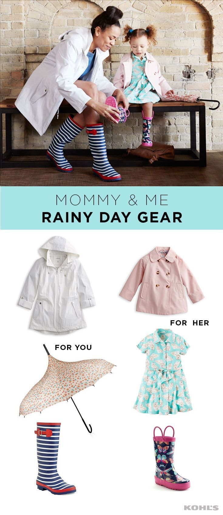 April showers bring cute rainy-day gear. Splash through the puddles with your little one in style. Pair a white raincoat with a floral umbrella and blue and white striped rain boots for you. Dress your mini me in a blush raincoat with a cute dress and pink and navy floral rain boots. You'll be singing in the rain in no time! Find spring styles for women and girls at Kohl's. #RaincoatsForWomenTravel