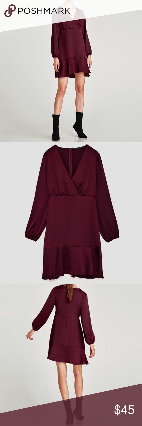 Zara Burgundy V-Neck Ruffle Dress Burgundy/Oxblood Dress from Zara.  Size M 100% polyester  New w tags! Zara Dresses Long Sleeve