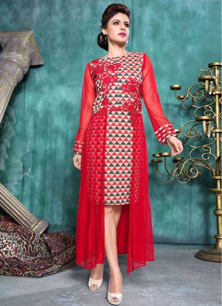 Red Digital print Banarasi Jacurd and Soft Net Fancy Tunic