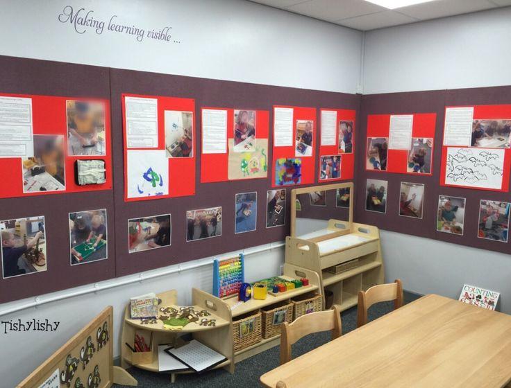 """Making learning visible"" display. Beneath, maths shelving."