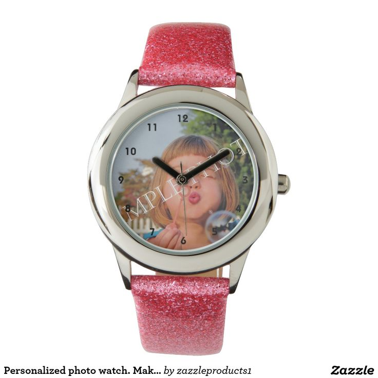 Personalized photo strap watch. Make your own! Style: Kid's Pink Glitter Strap Watch Comes in lots of styles! #watch #personalized #photogifts