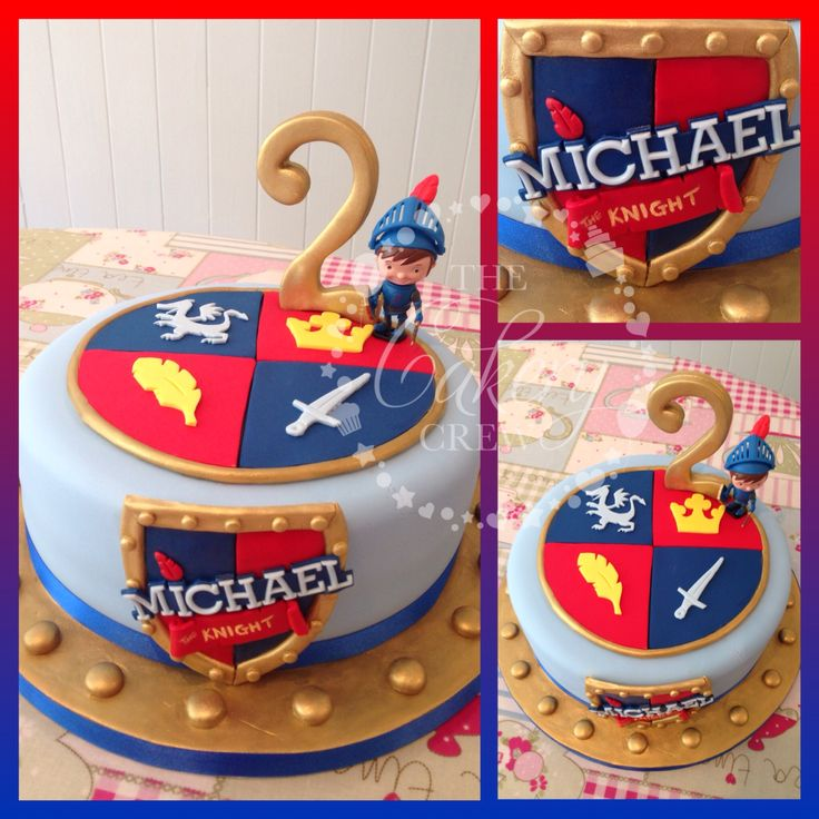 Mike the knight cake with hand cut shield and hand painted gold detail. Figure supplied by the customer.