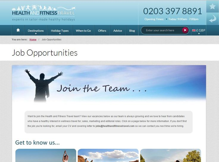 Want to join the growing Health and Fitness Travel team? If you have a #healthy interest in #wellness travel, view our #Job Opportunities page.
