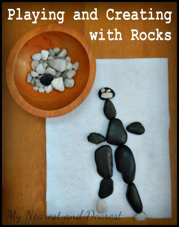 Ideas for playing and creating with Rocks at My Nearest and Dearest. Post includes 2 play invitations as well as links and ideas for more play, learning, and creativity with rocks.