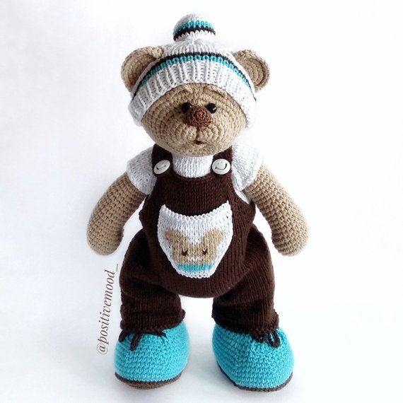Knitted toy Little Bear Teddy / soft animal toy / knitted bear ...