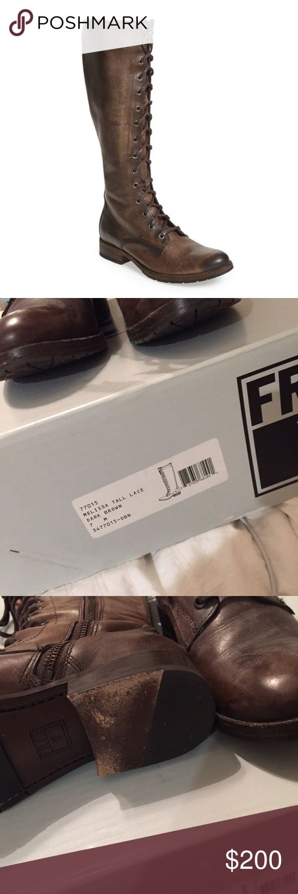 Frye Melissa Tall Lace Up Boots in Dark Brown Worn a few times, slight scuffing on bottom sole | Frye Melissa Tall Lace Up Boots in Dark Brown | Women's US 7 | No trades Frye Shoes Over the Knee Boots