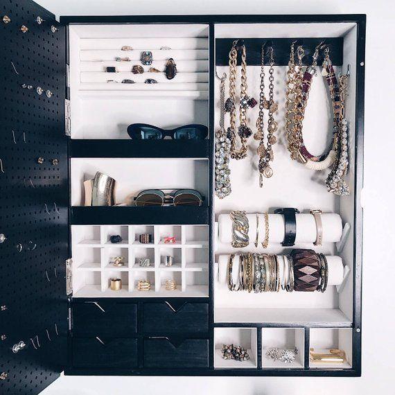 Pin By Marna Leeze Schlebusch On Jewelry Box In 2020 Wall Mount Jewelry Organizer Black Mirror Frame Jewellery Storage
