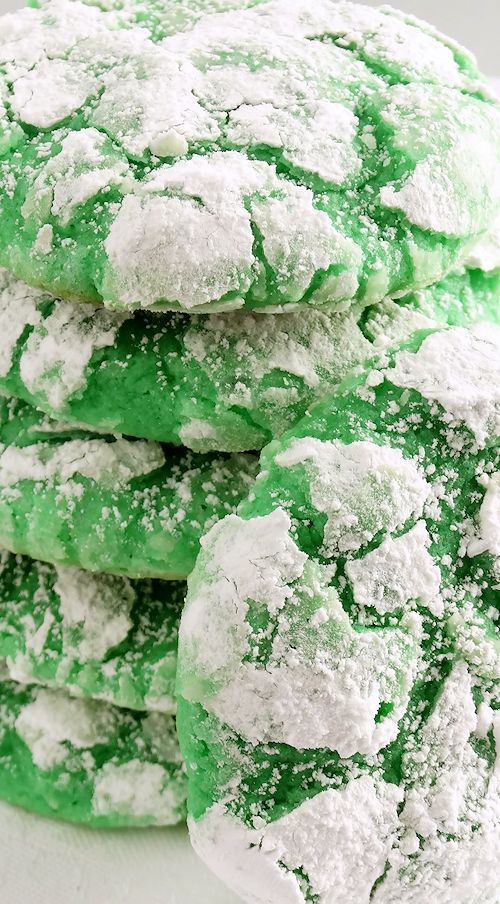 """Shamrock Gooey Butter Cookies ~ Melt-in-your-mouth Shamrock Gooey Butter Cookies at their finest and from scratch. Buttery, light and tender, flavored with pure cool mint extract and sweetened just right for that classic """"Shamrock Shake"""" flavor, these festive cream cheese cookies are perfect for spring and St. Patrick's Day, or everyday. You just can't have one! Included is a scrumptious gluten free variation. Mint lovers of all ages will LOVE them!"""