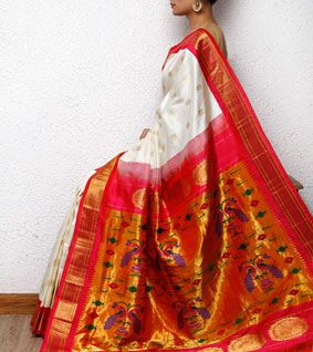 White Paithani Silk Saree. These traditional sarees may or may not appeal to some vibrant spiritual souls who seek to be different from the herd. What they can do is pick an unusual color that's rarely seen. Then try and team it with an offbeat blouse.