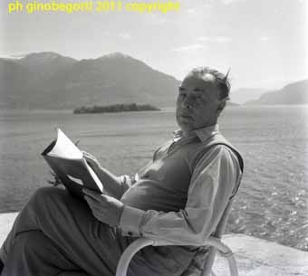 Erich Maria (Paul Remark) Remarque at his Swiss villa in Port Ronco