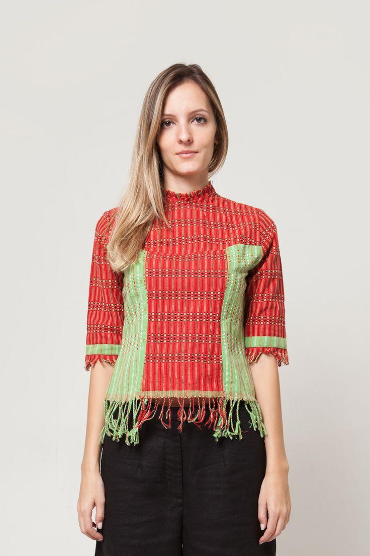 Red Green Fringe Blouse