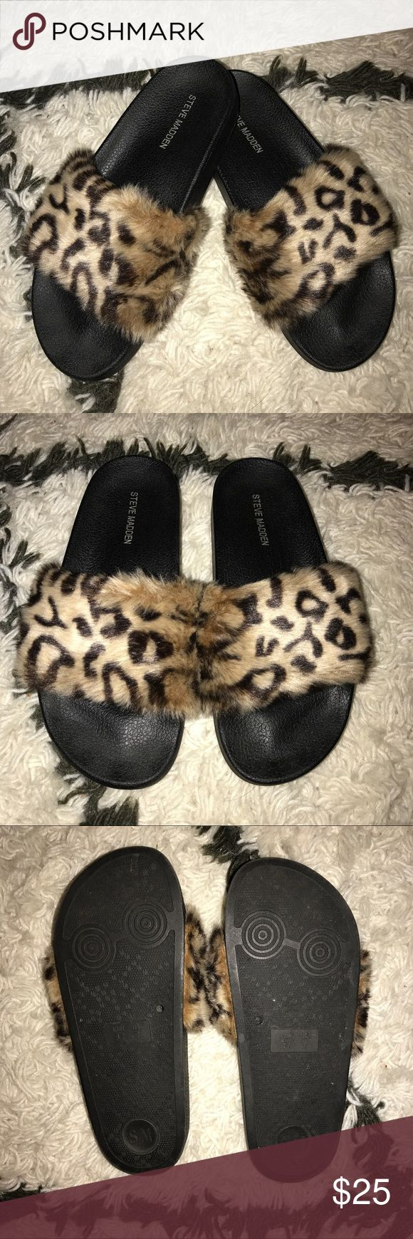 STEVE MADDEN 'Softey' Leopard fuzzy slides So so soft they're just a little too small for me! Size 7 // EU 37 worn maybe once. Perfect condition!! Steve Madden Shoes Flats & Loafers