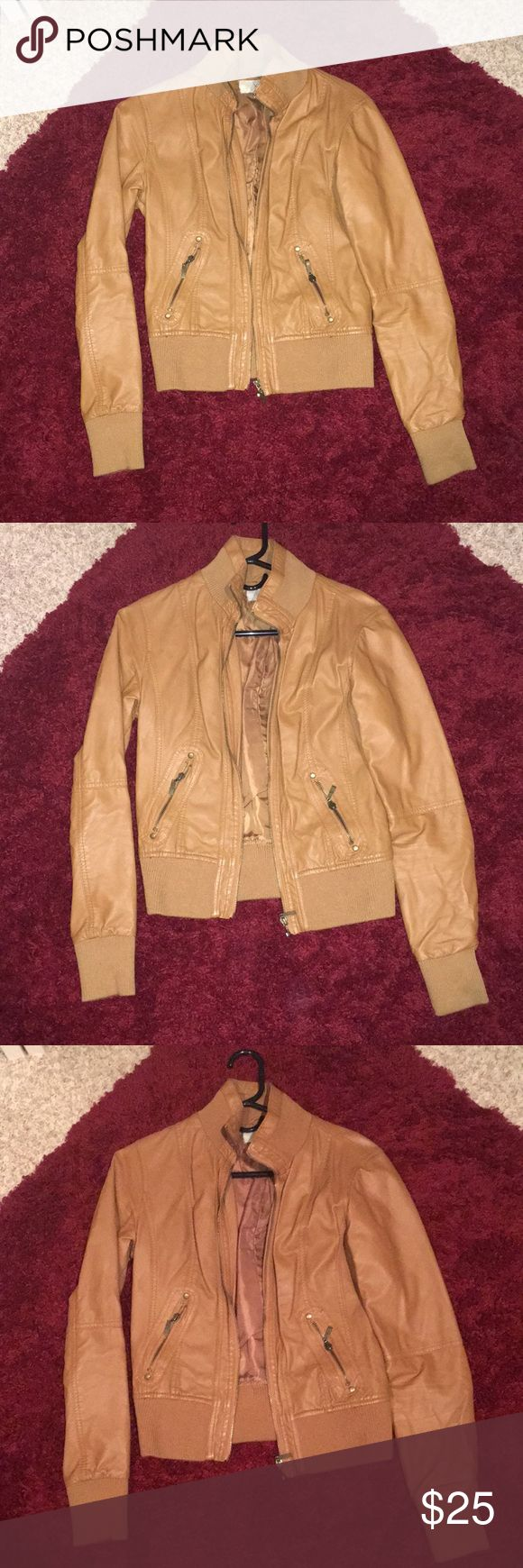 Forever 21 Camel Leather Jacket Camel colored leather jacket from Forever 21. Perfect for the fall! Gently used, great condition! Forever 21 Jackets & Coats